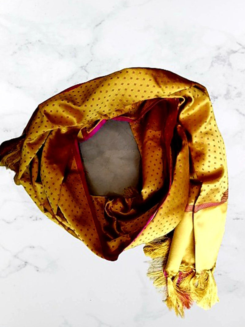 Stole Khajoori silk mushroo yellow