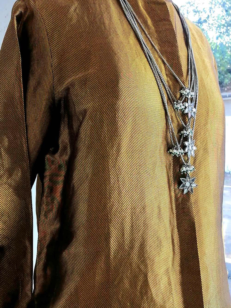 Shirt Erhi handwoven silk twill gold
