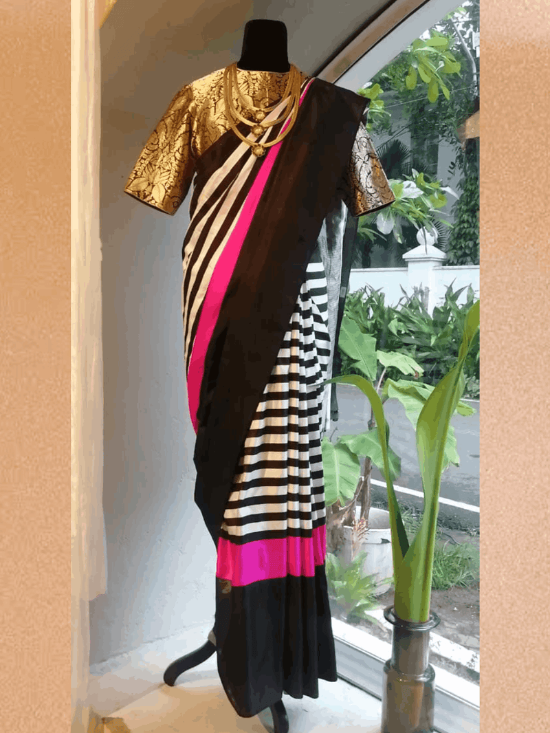 Sari Ekorn 15 inch black & natural handwoven mushru silk black natural