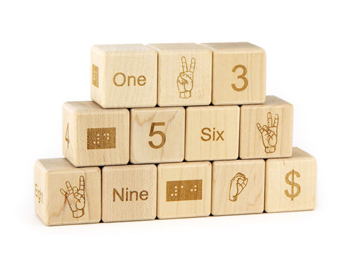 12 pc. Braille-Sign Language-Number Blocks - FREE Shipping