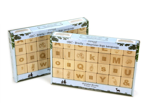 Classroom Double Set: Alphabet Block Set - ABC-Braille-Sign Language - FREE Shipping