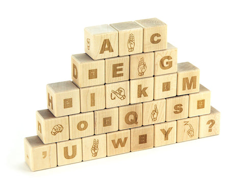 28 pc. Braille-American Sign Language Alphabet Blocks - FREE Shipping