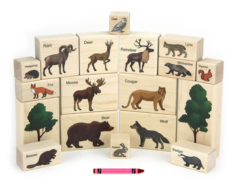 18 pc Forest Animals Maple Building Blocks - FREE Shipping