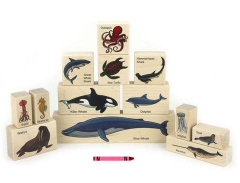 13 pc Ocean Animals Maple Building Blocks - FREE Shipping