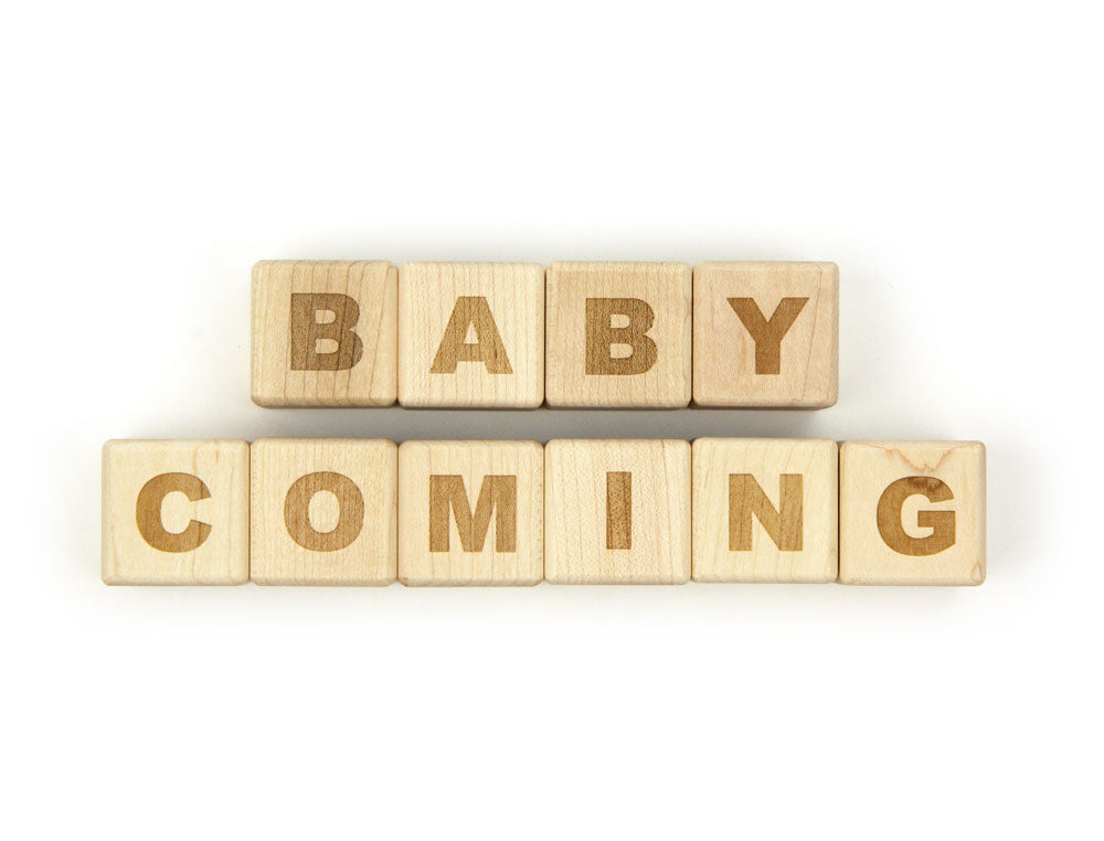 BABY COMING Message Blocks - FREE Shipping