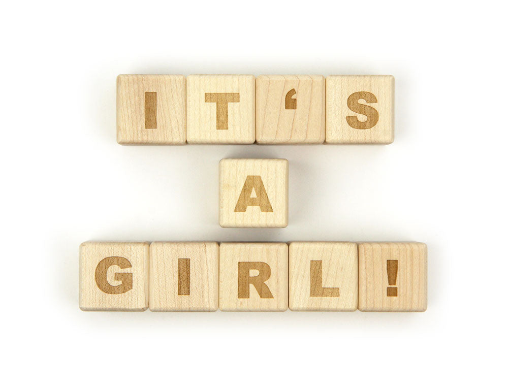 IT'S A GIRL! Message Blocks - FREE Shipping