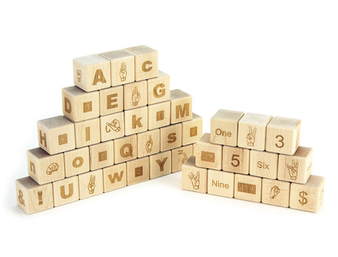 Combo Alphabet & Number Blocks Braille-Sign Language - FREE Shipping
