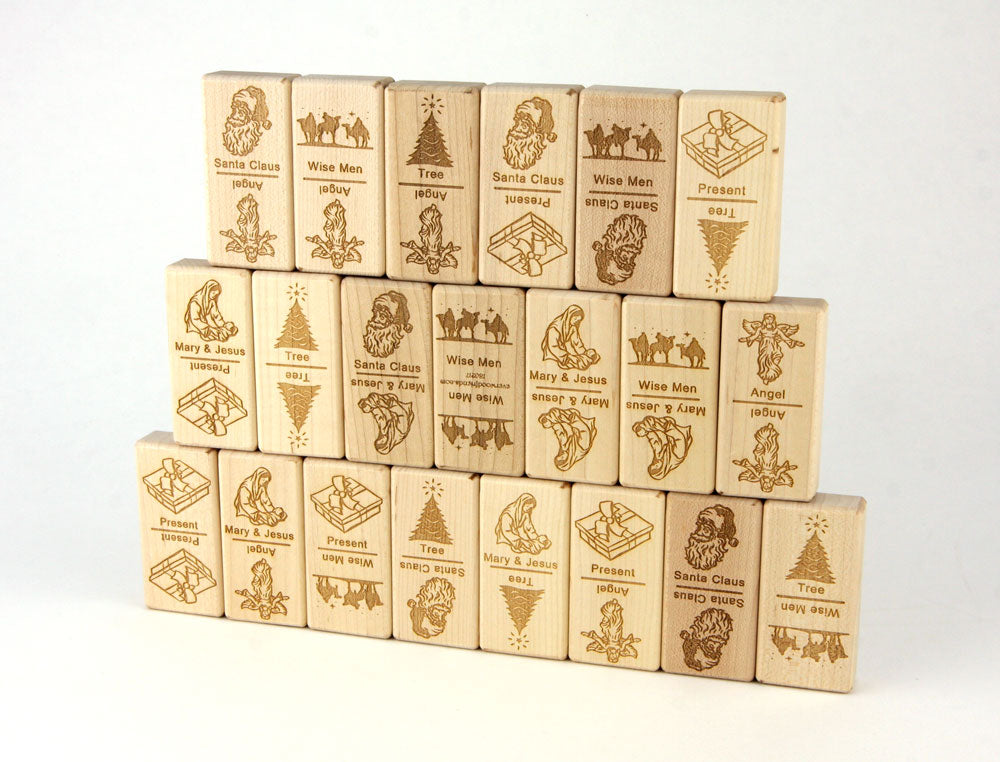 Christmas Jumbo Wood Dominoes - 21 pc Set - FREE Shipping