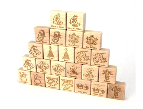 Christmas Wooden Matching Game - 24 pc Set - FREE Shipping