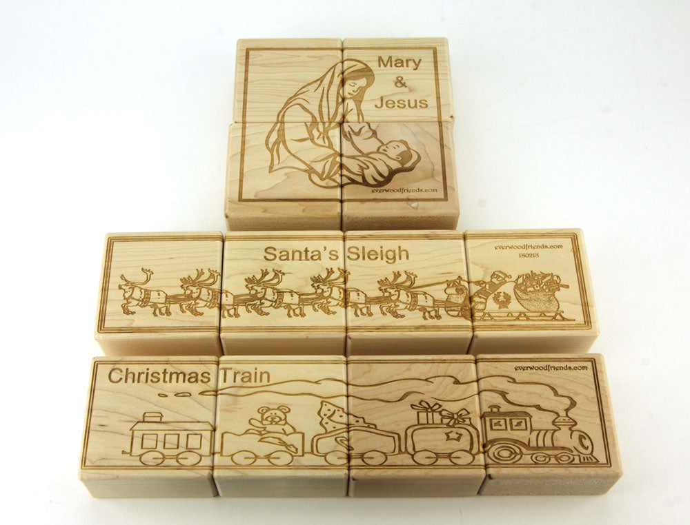 Christmas Jumbo Wooden Puzzle Blocks - 12 pc Set - FREE Shipping