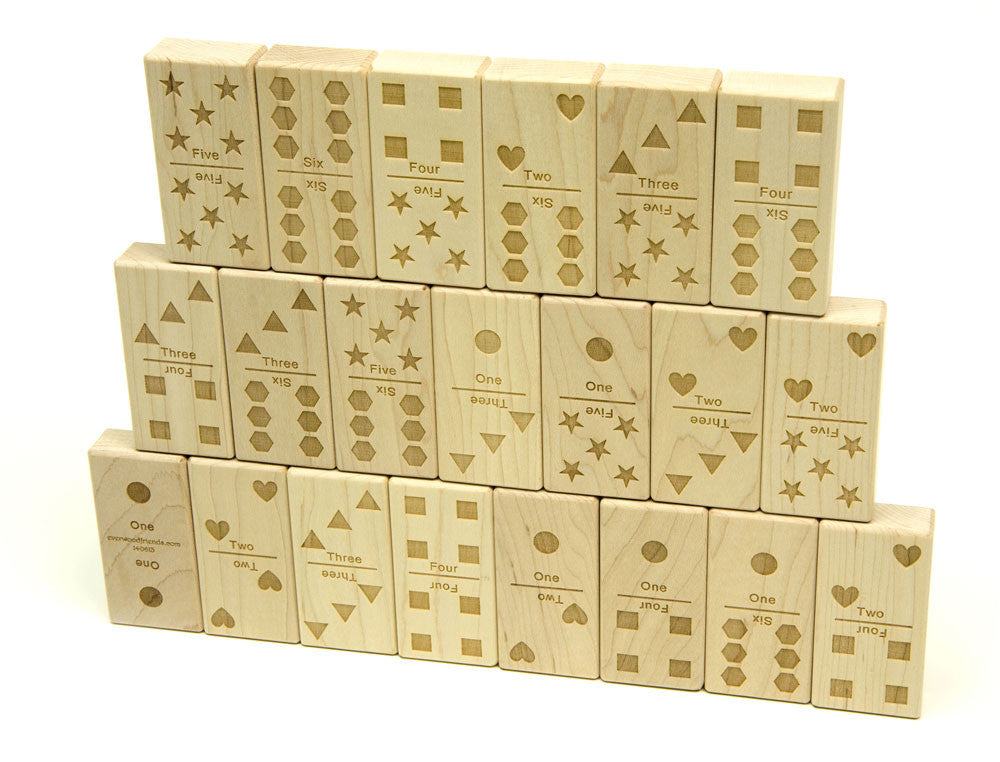 Numbers & Counting Jumbo Wood Dominoes - 21 pc Set - FREE Shipping