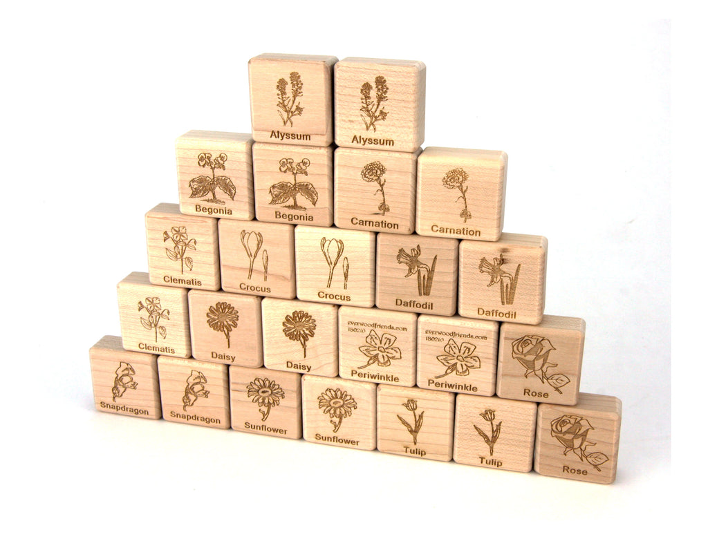 Flower Garden Wooden Matching Game - 24 pc Set - FREE Shipping