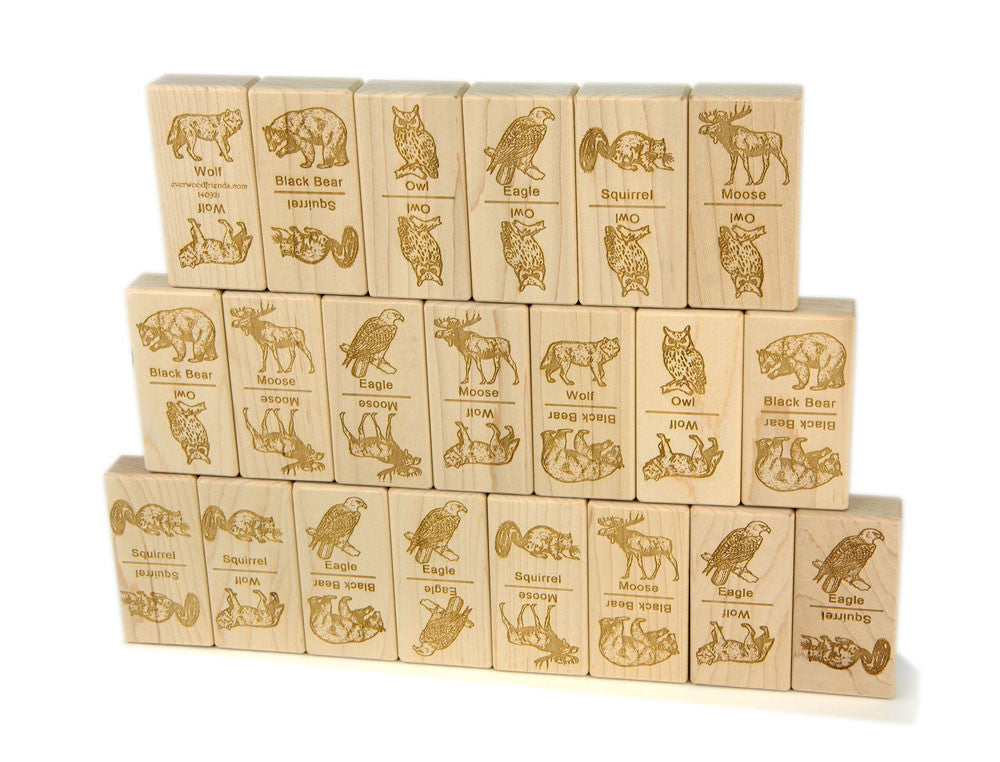 Forest Animals Jumbo Wood Dominoes - 21 pc Set - FREE Shipping
