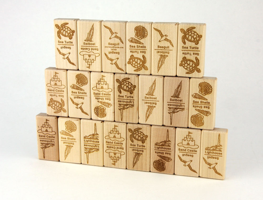 Seashore Jumbo Wood Dominoes - 21 pc Set - FREE Shipping