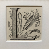 19th Century Ornamental Engraved Initial 'L'