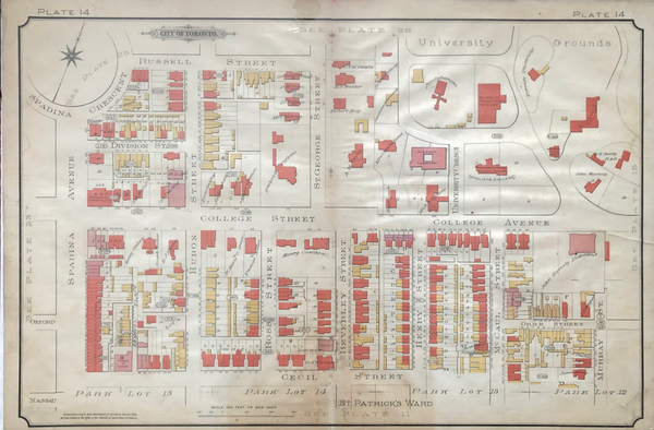 Goad Map of Toronto 1890 Plate 14 - Spadina Avenue to Murray St.