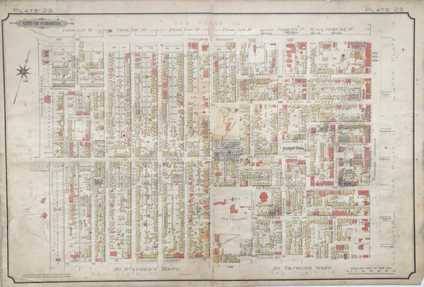 Antique Map 1890 Goad Map of Toronto Plate 23 - Grace St. to Spadina Ave