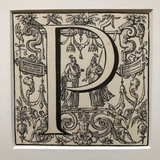 19th Century Ornamental Engraved Initial 'P'
