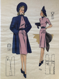 1940s Vintage Fashion Print Pink Dress with Blue Jacket & Hat