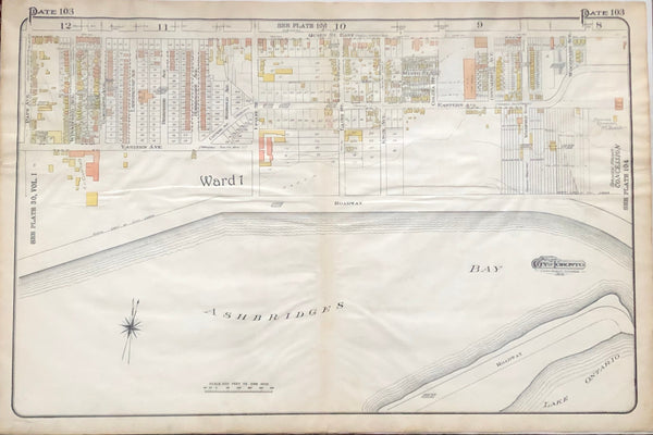 Antique Map of Toronto 1910 - Queen St. East to Ashbridge's Bay