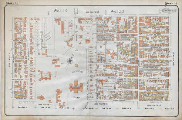 1910 Antique Goad Map of Toronto Plate 26