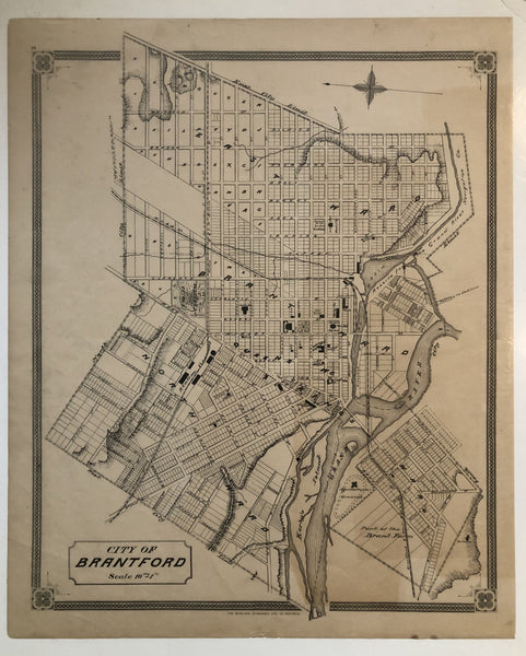 Antique Map 1879 Map of City of Brantford [Brant County, Southeastern Ontario]