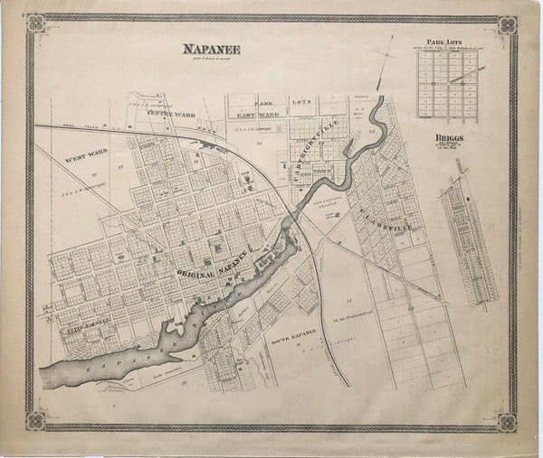 1879 Antique Map of Napanee [Lennox and Addington County, Eastern Ontario]