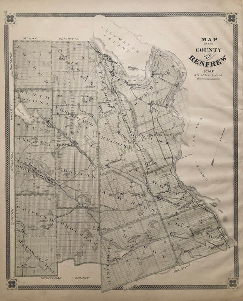 1879 Antique Map of The County of Renfew