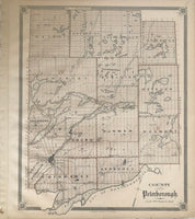 1879 Antique Map of the County of Peterborough