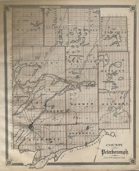 1879 Antique Map of the County of Peterborough [Kawartha Lakes, Central-southern Ontario]