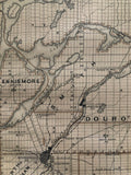 1879 Antique Map of Peterborough showing Buckhorn Lake, Chemong Lake and Pigeon Lake