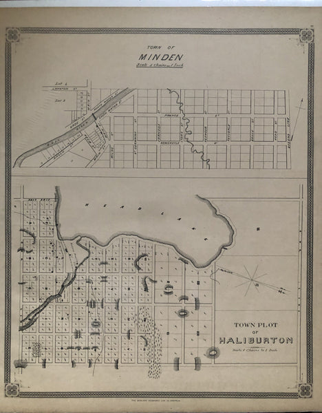 1879 Antique Map of the Town of Minden & Haliburton [Haliburton County, Central Ontario]