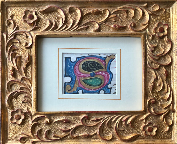 "Framed 15th-16th Century Illuminated Manuscript Initial ""S"""