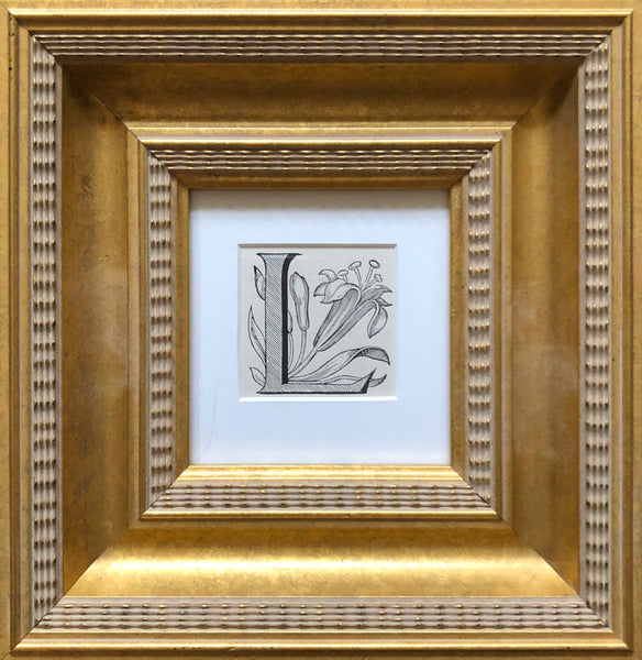 Antique Framed 19th Century Ornamental Engraved Initial 'L'