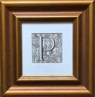 Antique Framed 19th Century Ornamental Engraved Initial 'P'
