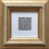 Antique Framed 16th Century Ornamental Woodcut Initial 'L'