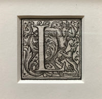 16th Century Ornamental Woodcut Initial 'L'