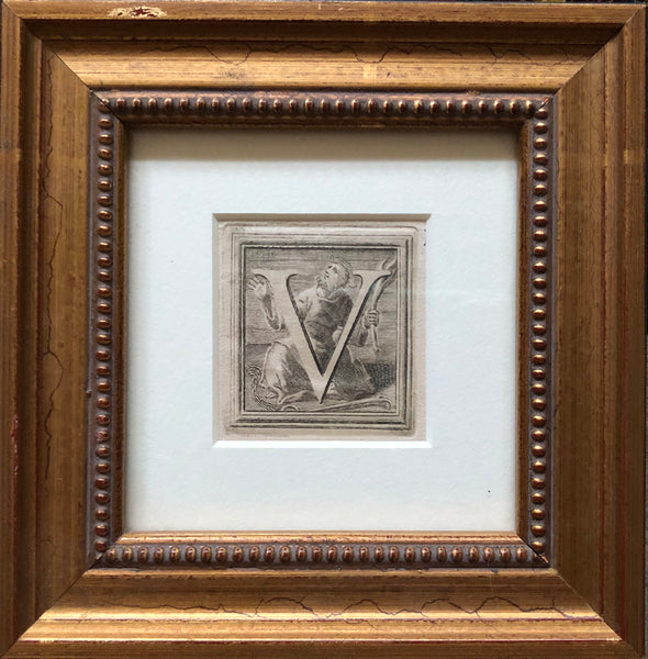 Antique Framed 16th Century Ornamental Woodcut Initial 'V'