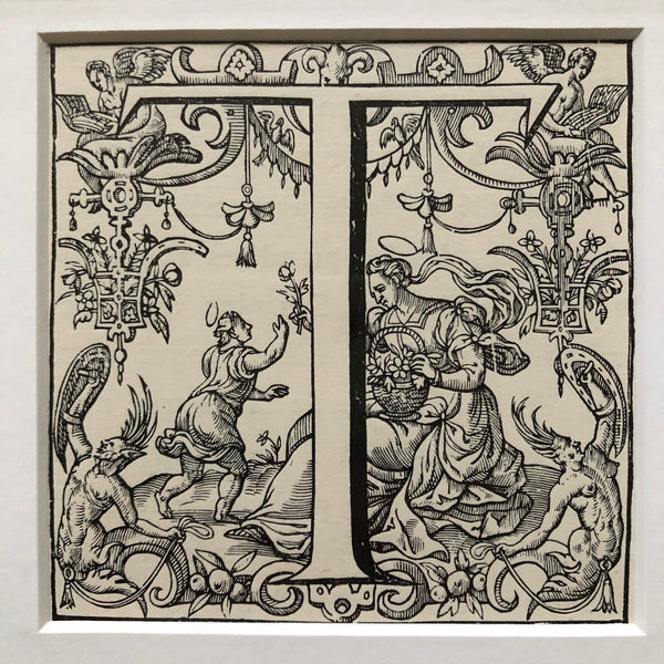 Antique Framed 19th Century Ornamental Engraved Initial 'T'