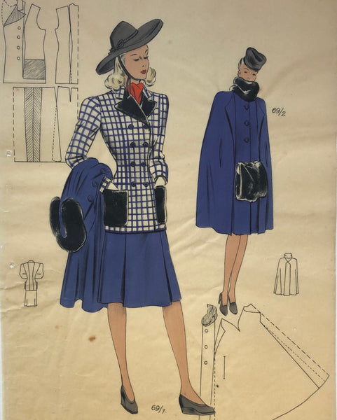 Les Croquis du Grand Chic 1940s French Fashion Plaid Jacket with Blue Skirt & Jacket Pochoir Fashion Print
