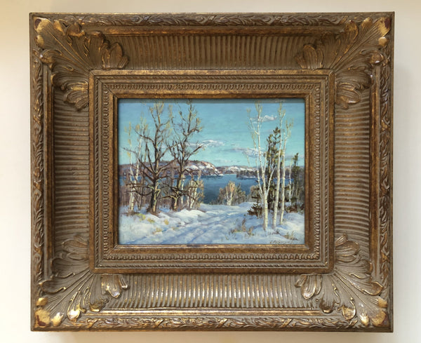 Otto Planding (1887-1964) Haliburton Lake, Winter Framed Original Oil Painting