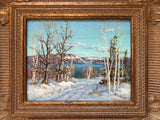 Frame detail on Otto Plandin Haliburton Lake, Winter Oil Painting