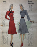 1940s Fashion Pochoir Print Les Croquis du Grand Chic Spring/Summer French Fashion Two Models in A-Line Dresses