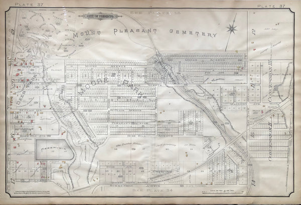 Goad Map of Toronto 1890 Plate 37- Yonge St. to east of Bayview Ave.