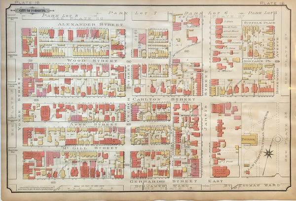 Goad Map of Toronto 1890 Plate 16 - Yonge St. to East of Jarvis St. - DOWNTOWN