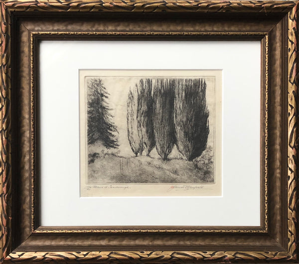 Framed James J. Blomfield [Canadian, 1872-1951] The Poplars in Scarborough Etching
