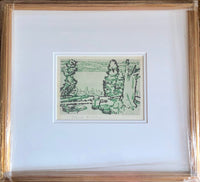 David Brown Milne [Canadian, 1882-1853] Painting Place (Hilltop) Drypoint Framed