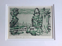 Close up of David Milne Painting Place aka Hilltop Drypoint
