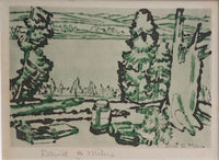 David Brown Milne [Canadian, 1882-1853] Painting Place (Hilltop) Drypoint