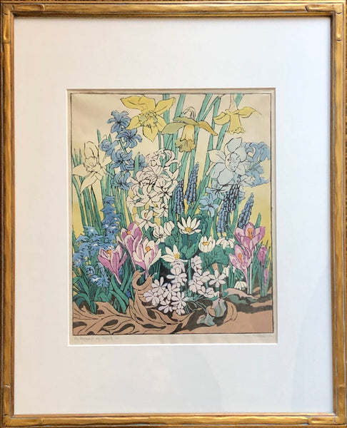 Mary Evelyn Wrinch [Canadian, 1878-1969] The Pageant of April  Framed Colour Linocut